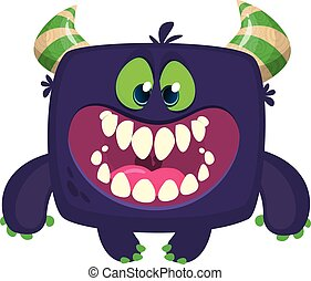 fâché, illustration, monster., halloween, dessin animé