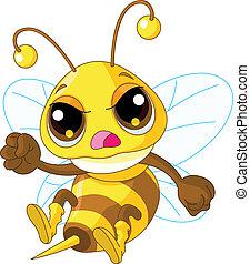 fâché, mignon, abeille