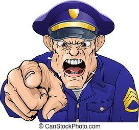 fâché, policier
