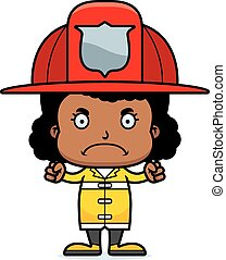 fâché, pompier, dessin animé, girl