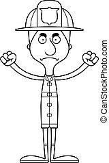 fâché, pompier, dessin animé, homme