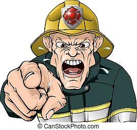 fâché, pompier