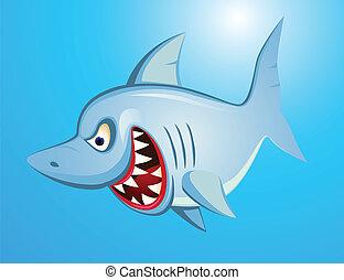 fâché, requin, dessin animé