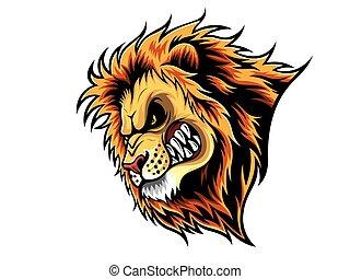 fâché, tête, lion
