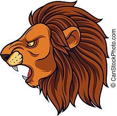 fâché, tête, lion, mascotte