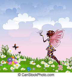 fée, céleste, pré, fleur