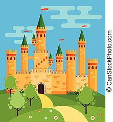 fée, château, illustration, conte