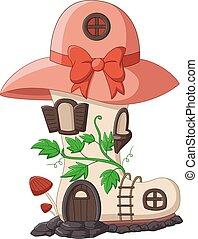 fée, dessin animé, conte, maison, bottes, chapeau, toit