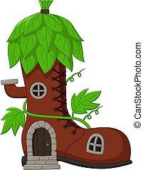 fée, dessin animé, feuilles, conte, maison, bottes, toit