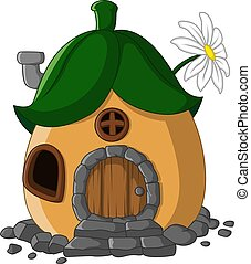 fée, dessin animé, feuilles, conte, maison, toit
