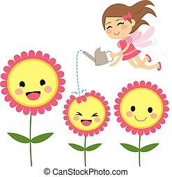 fée, fleurs, jardinage