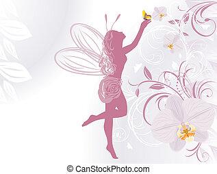 fée, fond, orchidées
