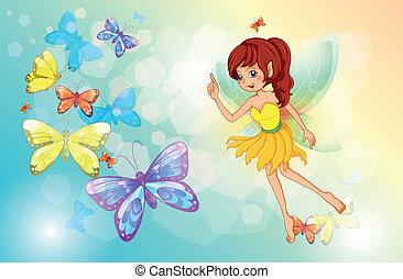 fée, papillons, coloré
