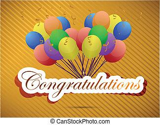 félicitations, balloon, illustration, card.