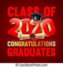 félicitations, conception, emblème, diplômés