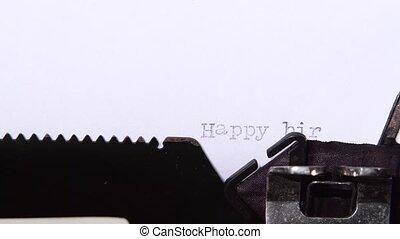 félicitations, feuille, paper., haut, anniversaire, fin, ton, heureux