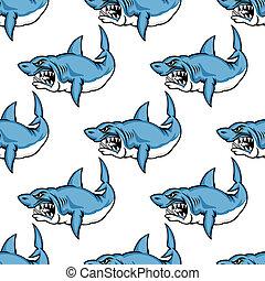 féroce, requin, avide, natation