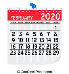 février, 3d, mur, rendre, calendrier, mensuel, 2020