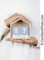 février, aléatoire, 17, bois, actes, calendar., tenue, girl, gentillesse, jour