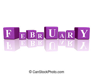 février, cubes, 3d