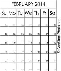 février, planificateur, costumizable, grand, eps, fichier, 2014, calendrier