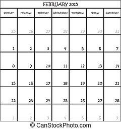 février, planificateur, mois, fond, 2015, calendrier, transparent