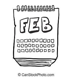 février, projection, mois, noir, freehand, dessiné, calendrier, blanc, dessin animé