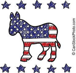 fête, âne, démocratique, croquis