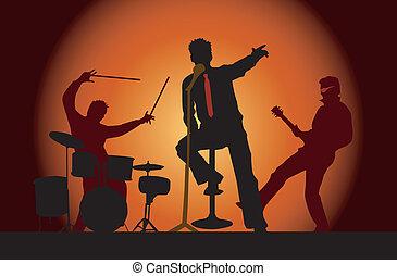 fête, 3, musiciens, concert, bande