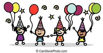 fête, anniversaire, enfants