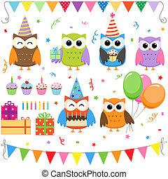 fête, anniversaire, ensemble, hiboux