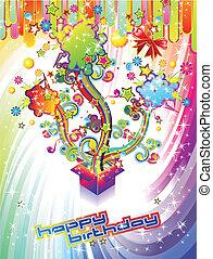 fête, anniversaire, fond, heureux