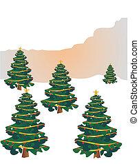 fête, arbres, joyeux, holidays...., noël, heureux