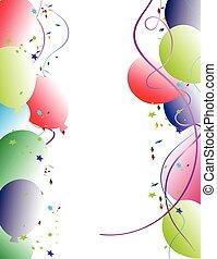fête, balloon, cadre, fond