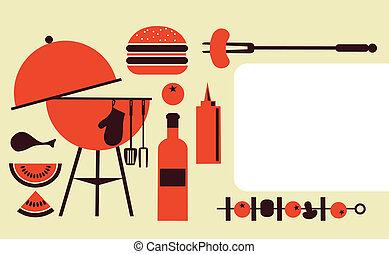 fête, barbecue, gabarit, invitation