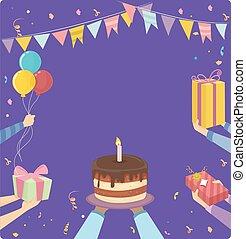 fête, cadre, anniversaire, mains