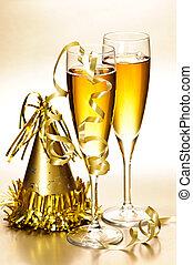 fête, champagne, nouveau, décorations, années
