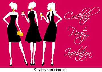 fête, cocktail, invitation