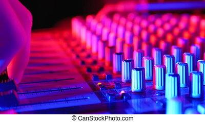 fête, console, son, club, nuit, fonctionnement, dj, mélange