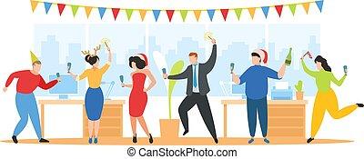 fête, constitué, gens, nouveau, amusement, année, équipe, célébrer, heureux, bureau, vecteur, vacances, avoir, illustration, noël, danse
