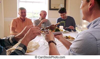 fête, dîner, hommes, manger