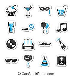 fête, ensemble, fetes, laboratoire, icônes