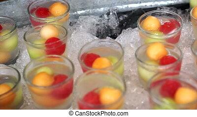 fête, glacé, été, cocktail, fruits
