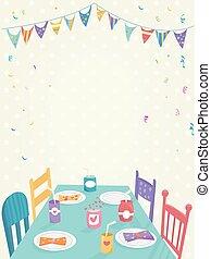fête, gosses, bannière, coloré