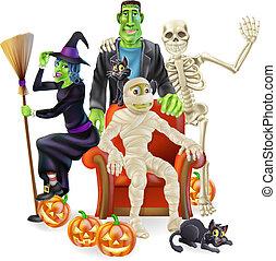 fête, halloween, groupe