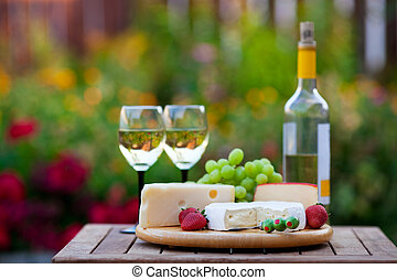 fête, jardin, &, vin, fromage