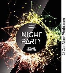 fête, nuit, affiche, fond, disco
