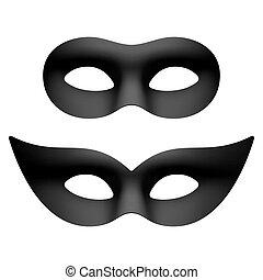 fête, oeil, carnaval, masques