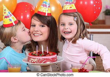 fête, peu, anniversaire, fille