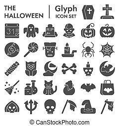 fête, pictograms, solide, toile, set., signes, paquet, vecteur, blanc, collection, halloween, logo, arrière-plan., symboles, isolé, illustrations, croquis, glyph, icône, style
